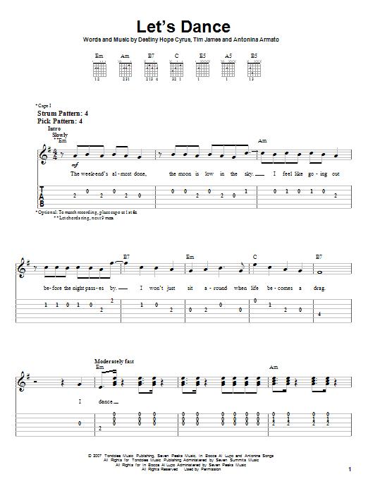 Tablature guitare Let's Dance de Hannah Montana - Tablature guitare facile