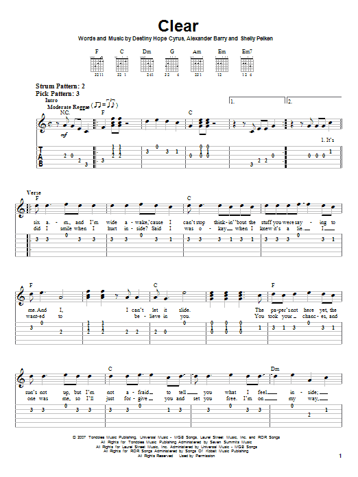 Tablature guitare Clear de Hannah Montana - Tablature guitare facile
