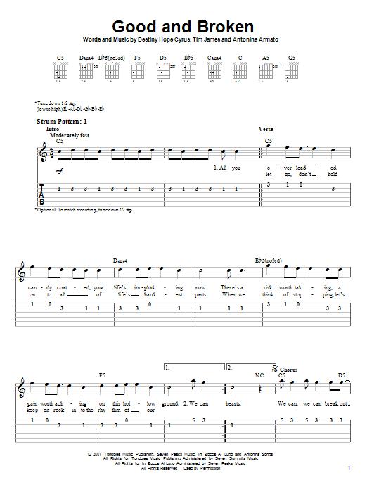 Tablature guitare Good And Broken de Hannah Montana - Tablature guitare facile