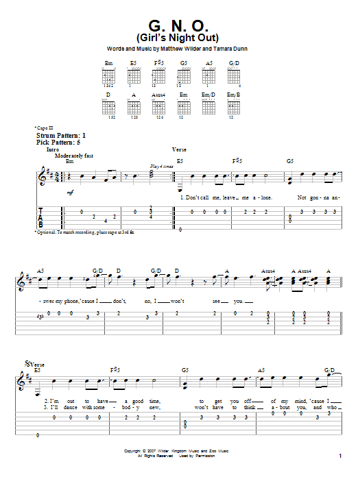 G.N.O. (Girl's Night Out) (Easy Guitar Tab)