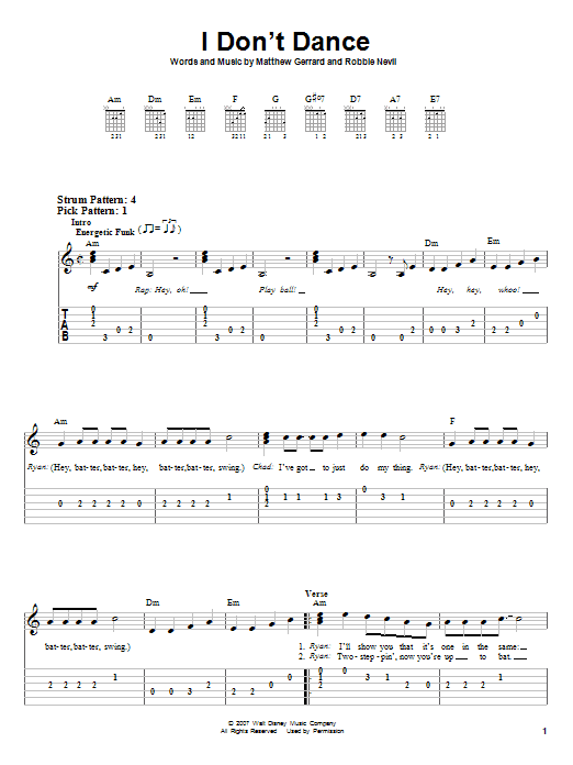Tablature guitare I Don't Dance de High School Musical 2 - Tablature guitare facile
