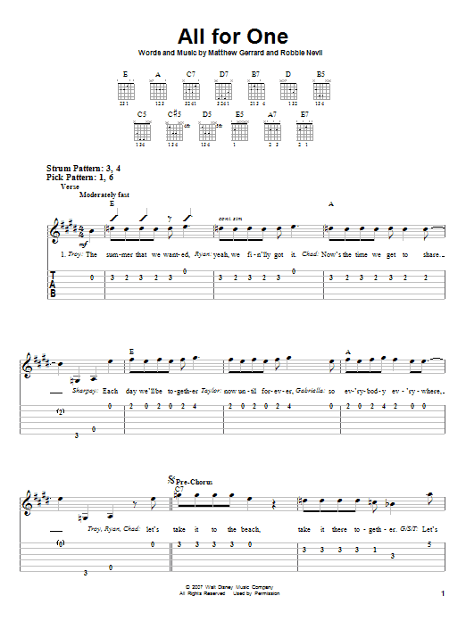All For One (Easy Guitar Tab)