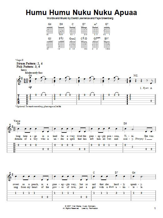 Humu Humu Nuku Nuku Apuaa (Easy Guitar Tab)