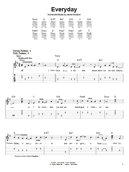 Tablature guitare Everyday de High School Musical 2 - Tablature guitare facile
