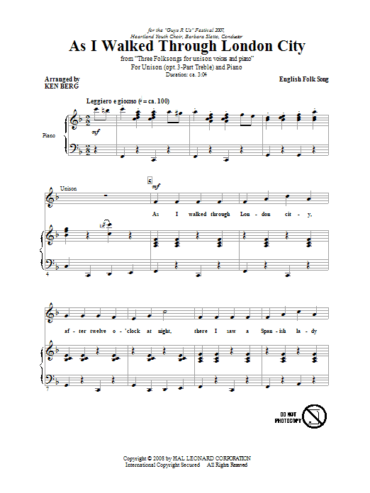 As I Walked Through London City (arr. Ken Berg) Sheet Music