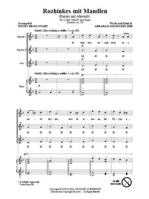 Rozhinkes Mit Mandlen (Raisins And Almonds) (3-Part Treble Choir)