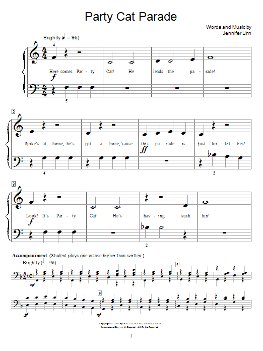 Party Cat Parade Sheet Music