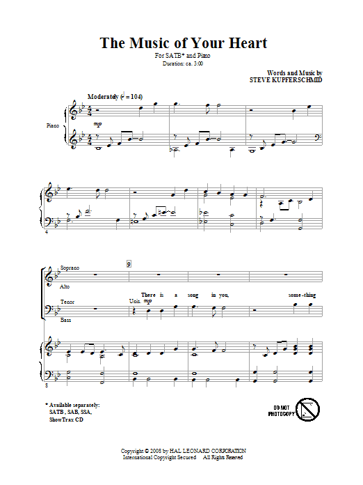 The Music Of Your Heart (SATB Choir)