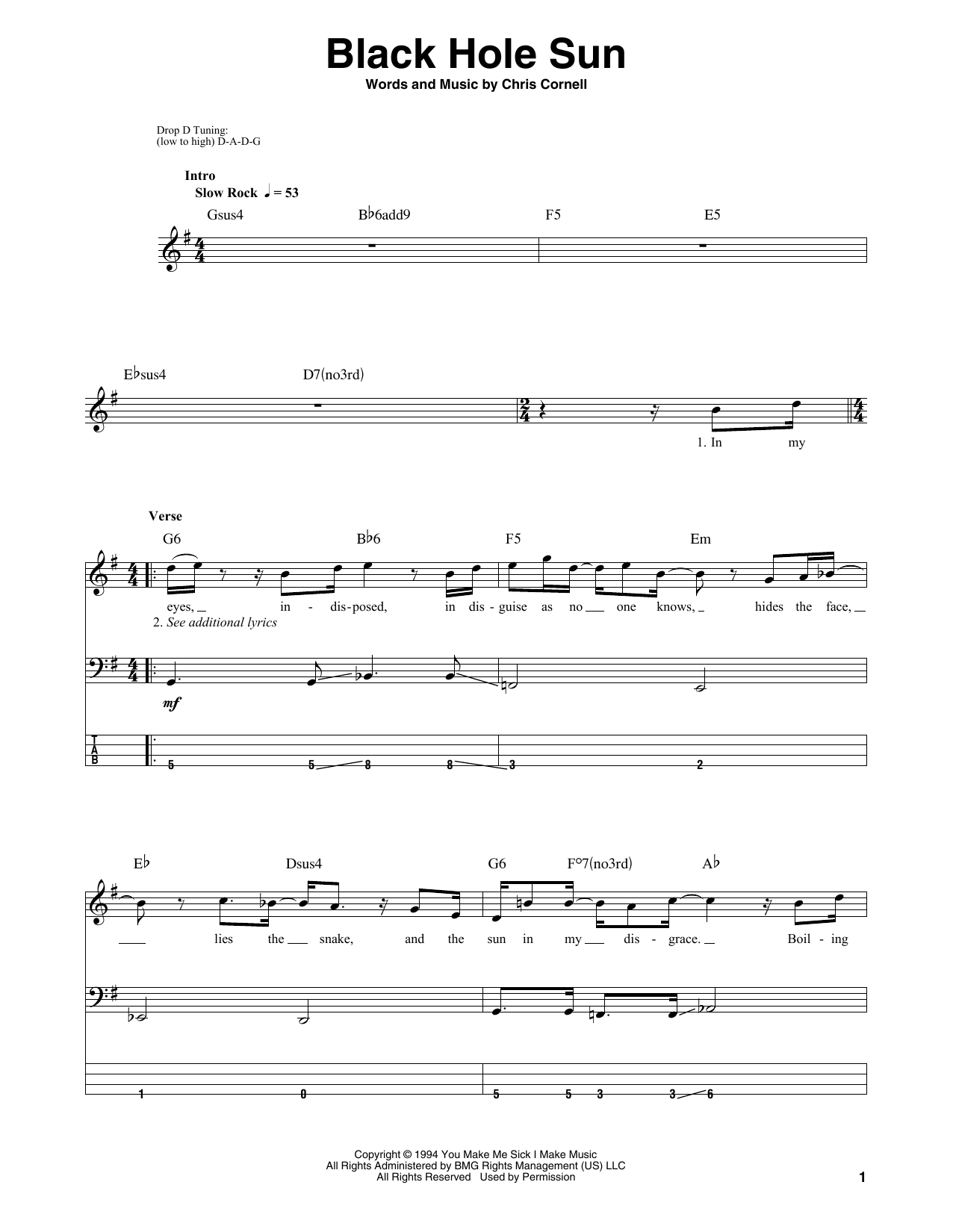 Black Hole Sun Bass Guitar Tab by Soundgarden (Bass Guitar ...