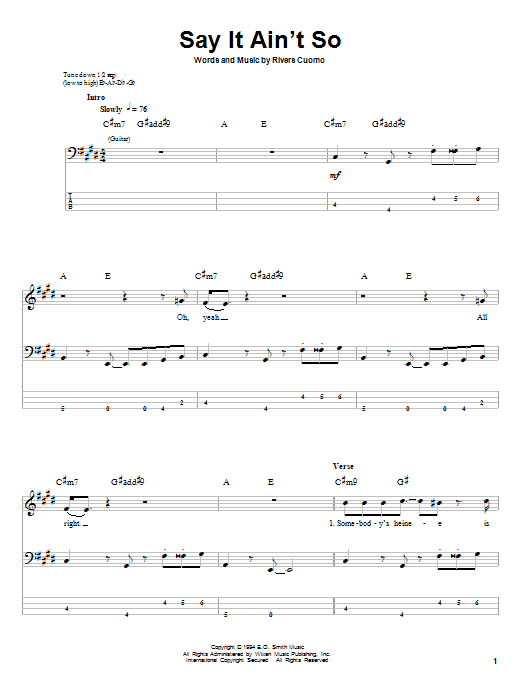 Tablature guitare Say It Ain't So de Weezer - Tablature Basse