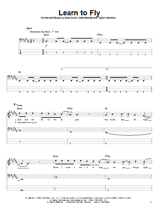 Tablature guitare Learn To Fly de Foo Fighters - Tablature Basse