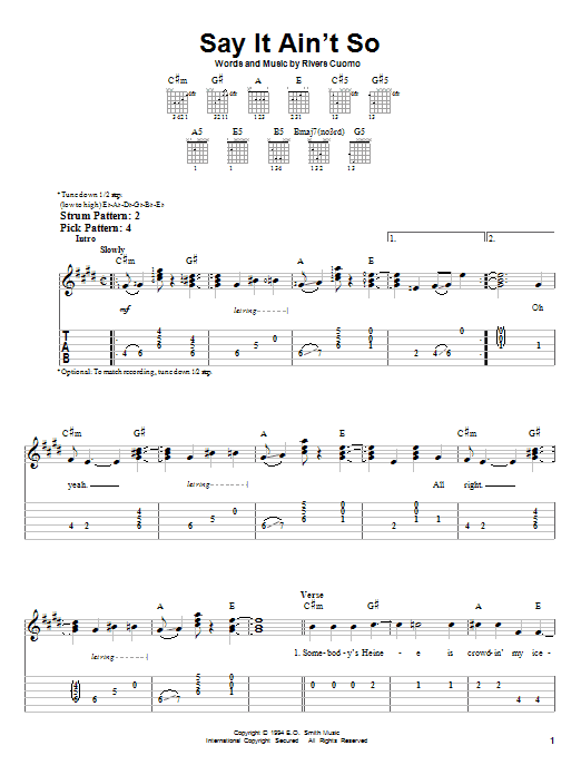 Say It Ain\'t So by Weezer - Easy Guitar Tab - Guitar Instructor
