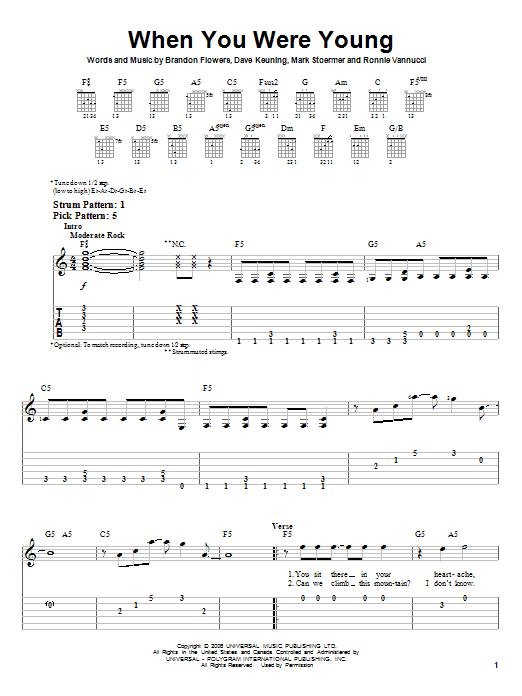 Tablature guitare When You Were Young de The Killers - Tablature guitare facile