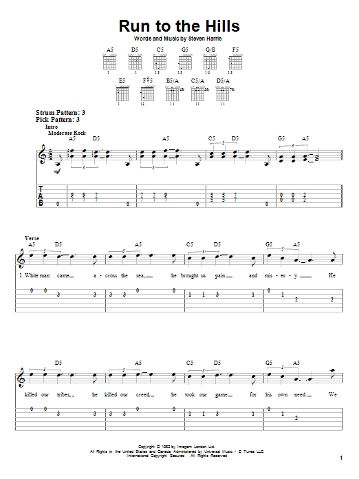 Run To The Hills (Easy Guitar Tab)