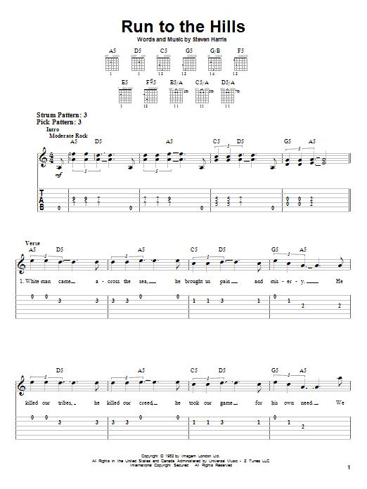 Tablature guitare Run To The Hills de Iron Maiden - Tablature guitare facile