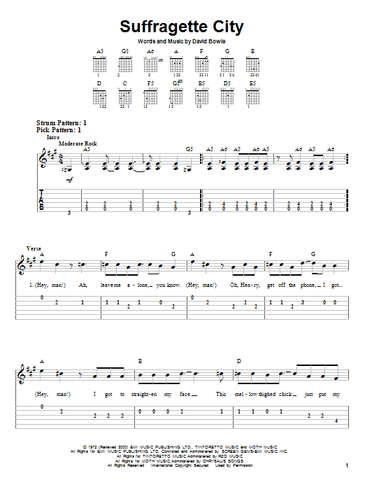 Tablature guitare Suffragette City de David Bowie - Tablature guitare facile