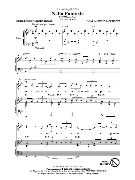 Nella Fantasia (In My Fantasy) (TTBB Choir)