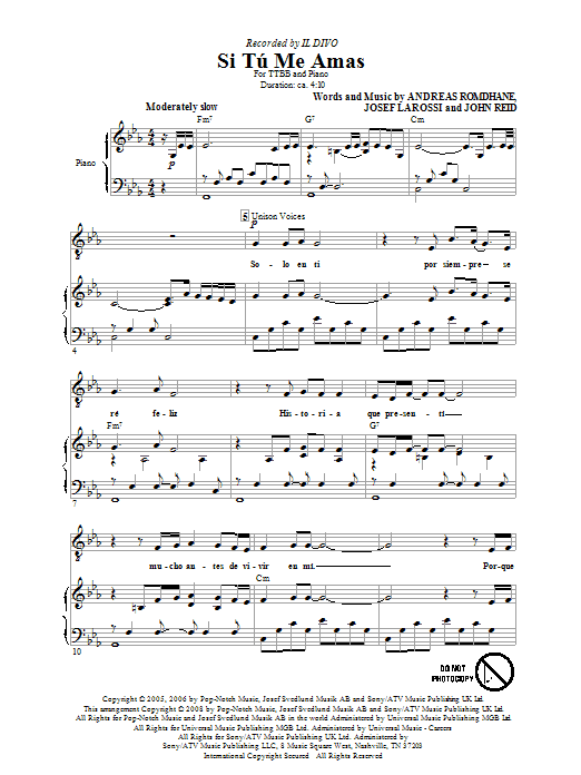Si Tu Me Amas (TTBB Choir)