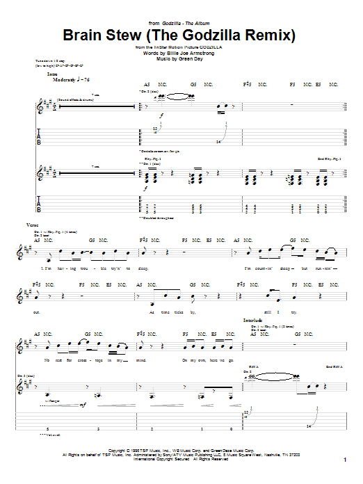 Tablature guitare Brain Stew (The Godzilla Remix) de Green Day - Tablature Guitare