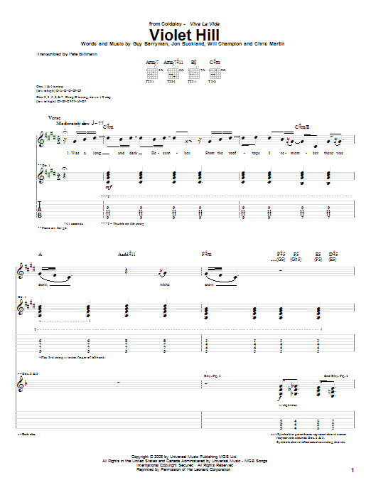 Tablature guitare Violet Hill de Coldplay - Tablature Guitare