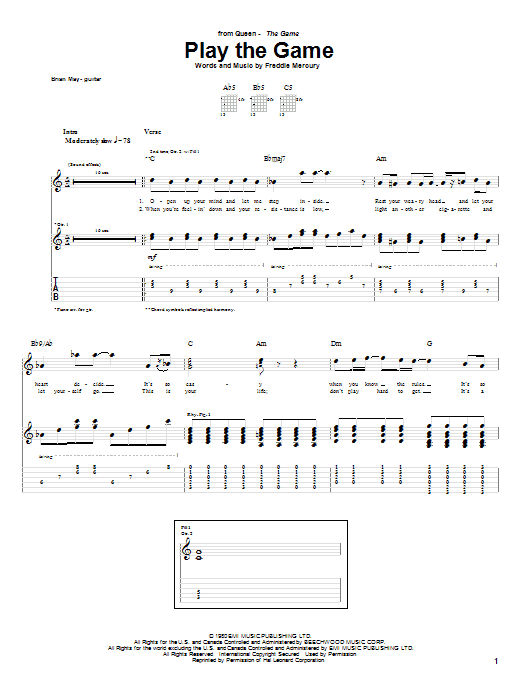 Play The Game Sheet Music