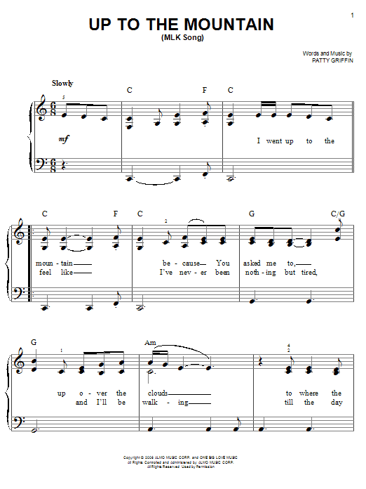 Up To The Mountain (MLK Song) Sheet Music