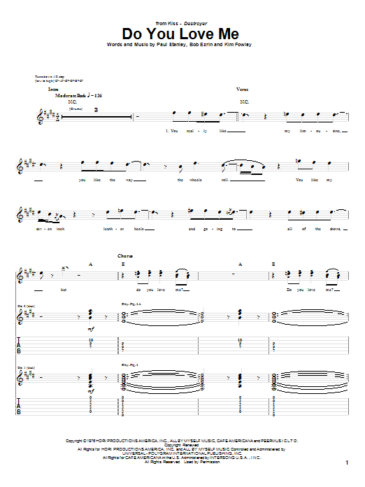 Tablature guitare Do You Love Me de KISS - Tablature Guitare