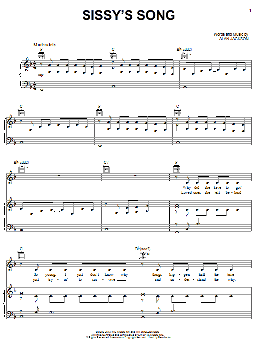 Partition piano Sissy's Song de Alan Jackson - Piano Voix Guitare (Mélodie Main Droite)
