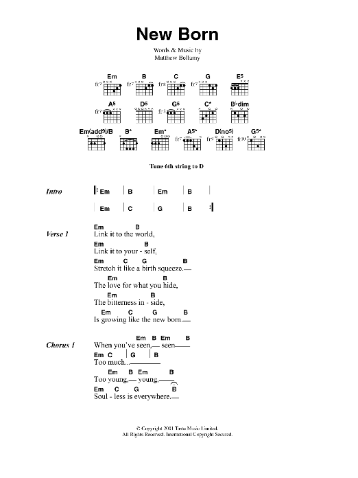 New Born By Muse Guitar Chordslyrics Digital Sheet Music