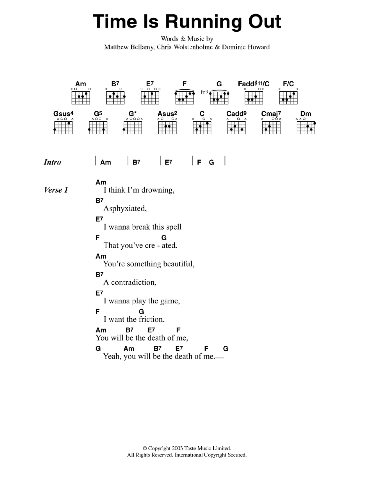 Time Is Running Out by Muse Guitar Chords/Lyrics Digital Sheet Music