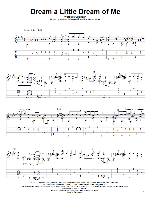 Tablature guitare Dream A Little Dream Of Me de The Mamas & The Papas - Tablature Guitare
