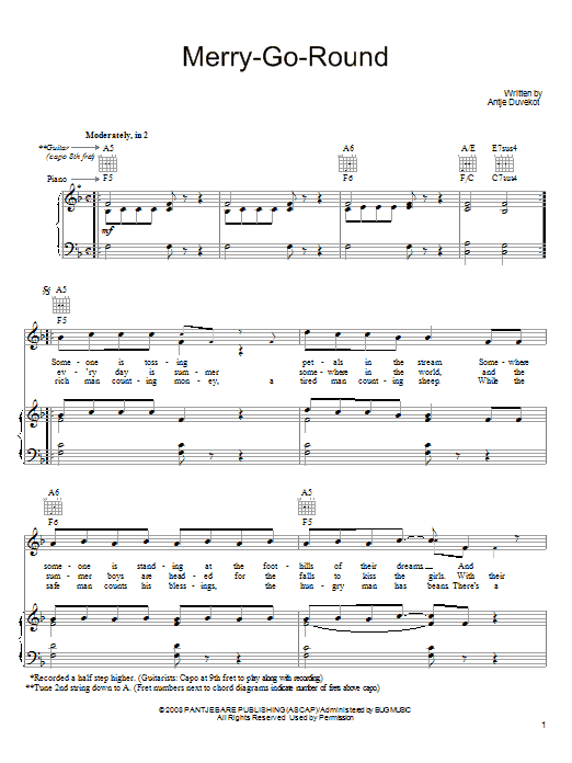 Merry-Go-Round (Piano, Vocal & Guitar (Right-Hand Melody))