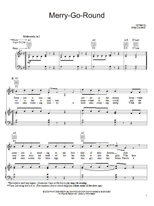 Partition piano Merry-Go-Round de Antje Duvekot - Piano Voix Guitare (Mélodie Main Droite)