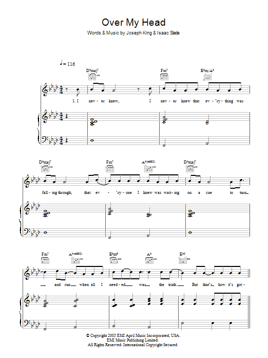 Over My Head (Cable Car) Sheet Music