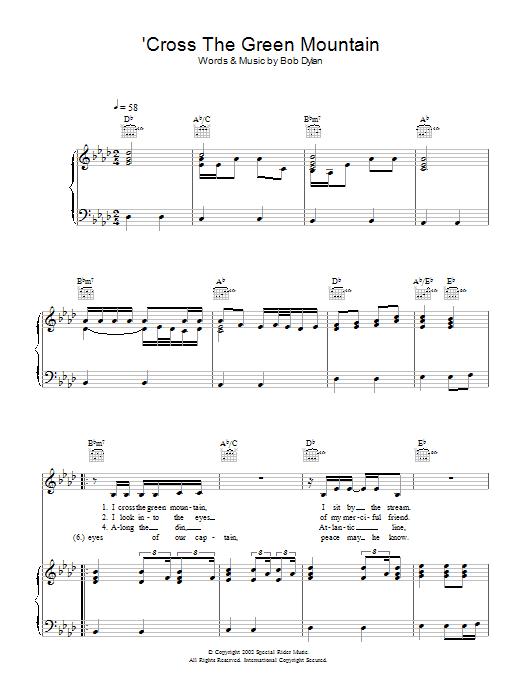 'Cross Green Mountain (Piano, Vocal & Guitar)