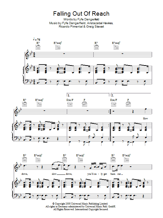 Falling Out Of Reach Sheet Music