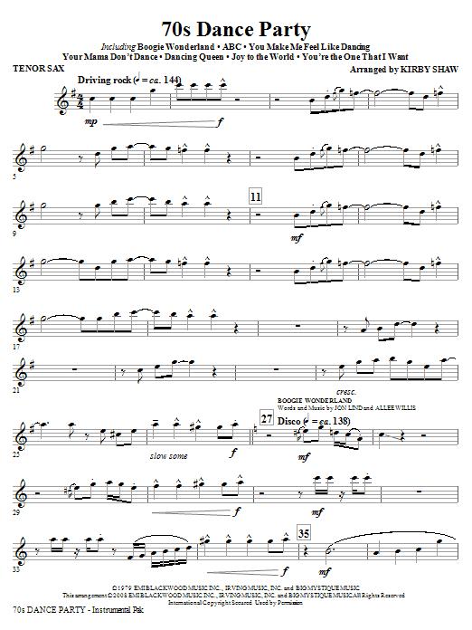 70s Dance Party (Medley) - Tenor Sax (Choir Instrumental Pak)