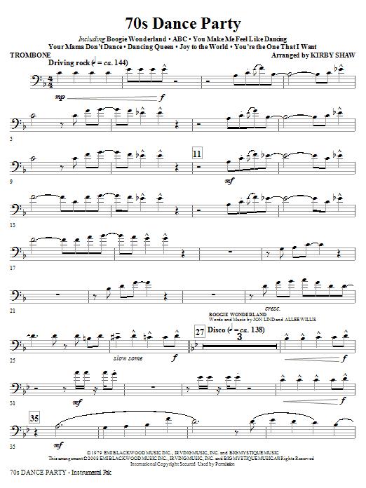 70s Dance Party (Medley) - Trombone (Choir Instrumental Pak)