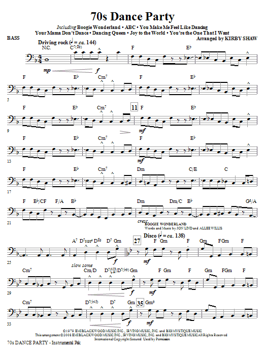 70s Dance Party (Medley) - Bass (Choir Instrumental Pak)