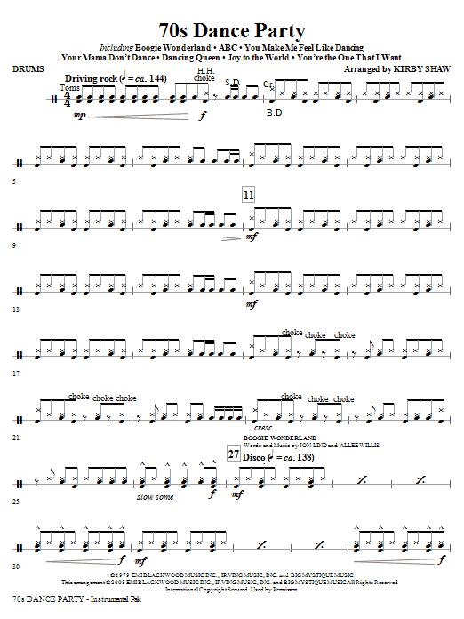 70s Dance Party (Medley) - Drums (Choir Instrumental Pak)