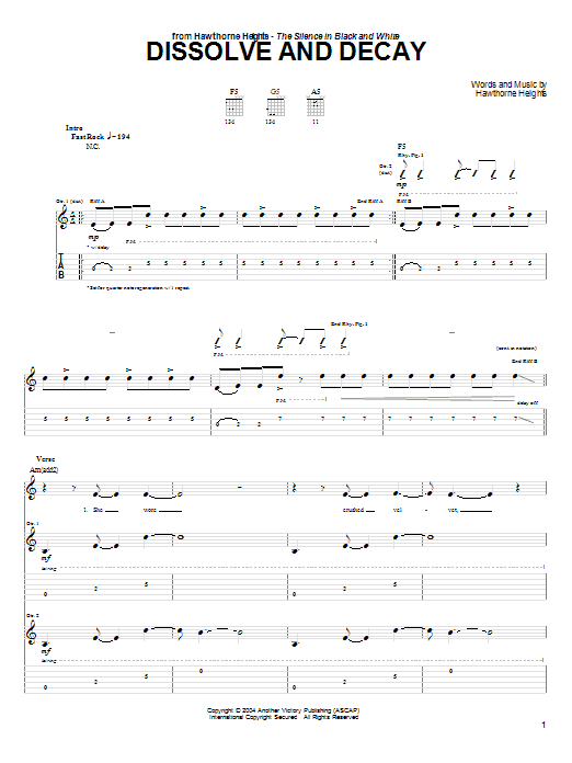 Tablature guitare Dissolve And Decay de Hawthorne Heights - Tablature Guitare