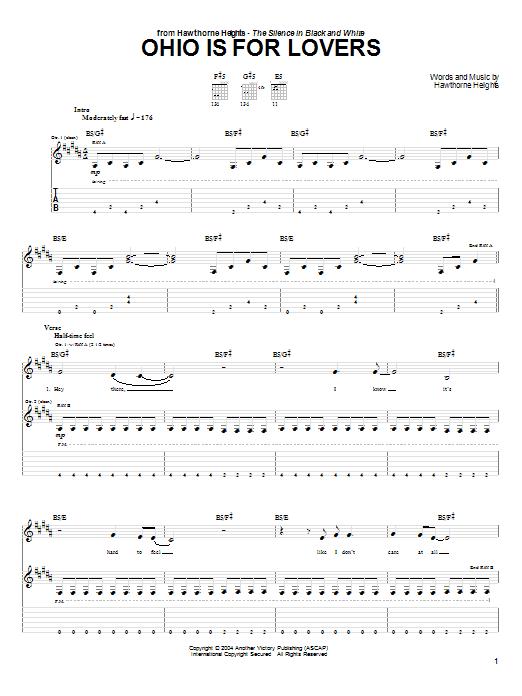 Tablature guitare Ohio Is For Lovers de Hawthorne Heights - Tablature Guitare
