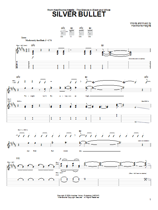Tablature guitare Silver Bullet de Hawthorne Heights - Tablature Guitare