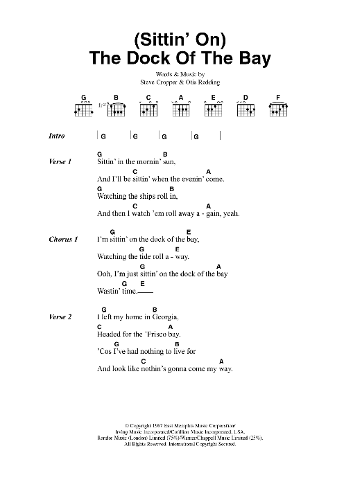 Sittin On The Dock Of The Bay Sheet Music Otis Redding Lyrics