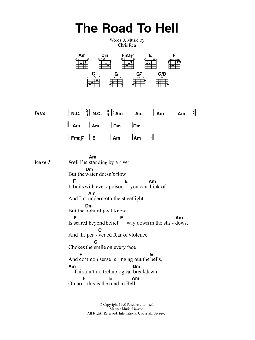 The Road To Hell Sheet Music