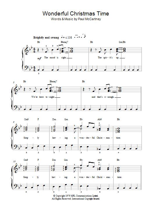 Wonderful Christmastime Sheet Music