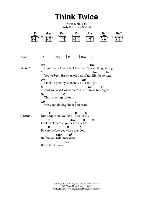 Think Twice Sheet Music By Celine Dion Lyrics Chords 42337