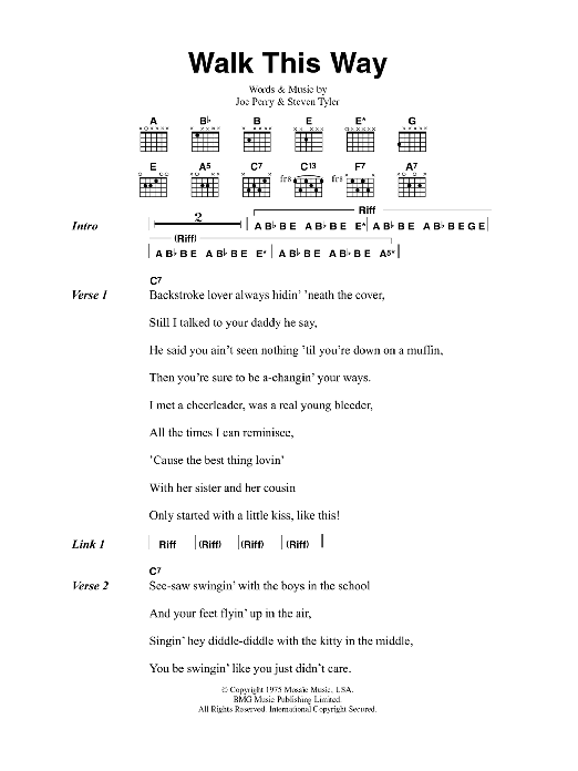 Walk This Way by Aerosmith - Guitar Chords/Lyrics - Guitar Instructor