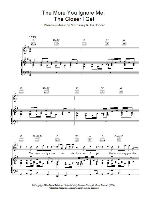 The More You Ignore Me, The Closer I Get (Piano, Vocal & Guitar)
