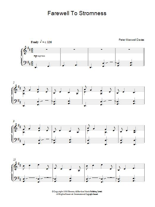 Farewell To Stromness (Piano Solo)